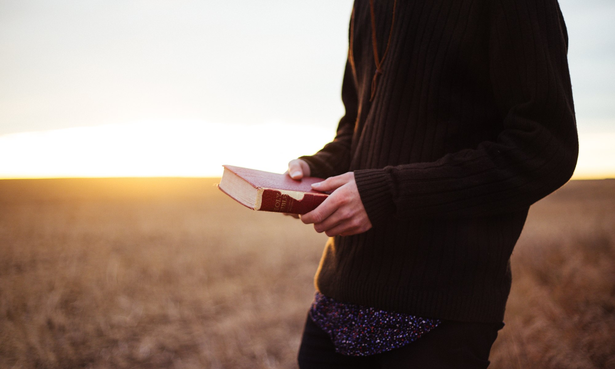 Man holing Bible at sunset