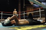 Image of boxer on his back knocked out (K.O.) to illustrate that when you make a mistake things aren't as bad as they seem if you seek God.