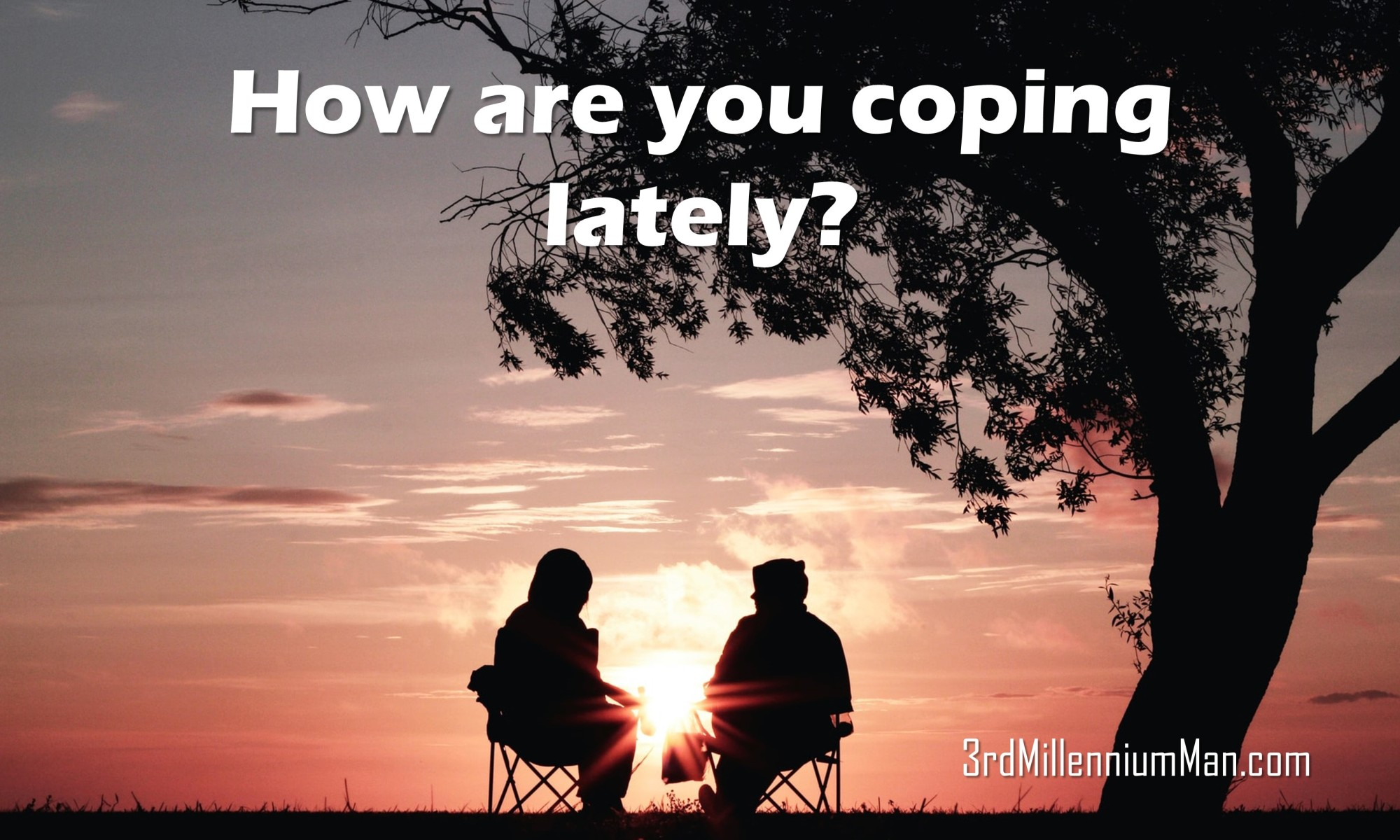 title text with image of two people sitting and talking under a tree