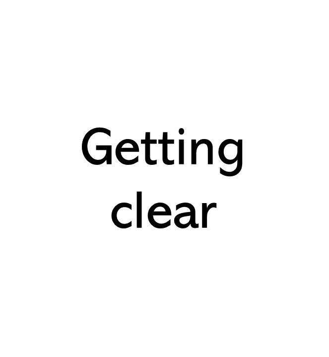 Title image text that says Getting clear