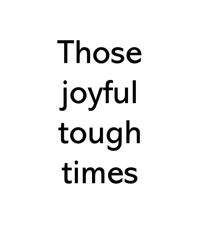 Title text image that says Those joyful tough times