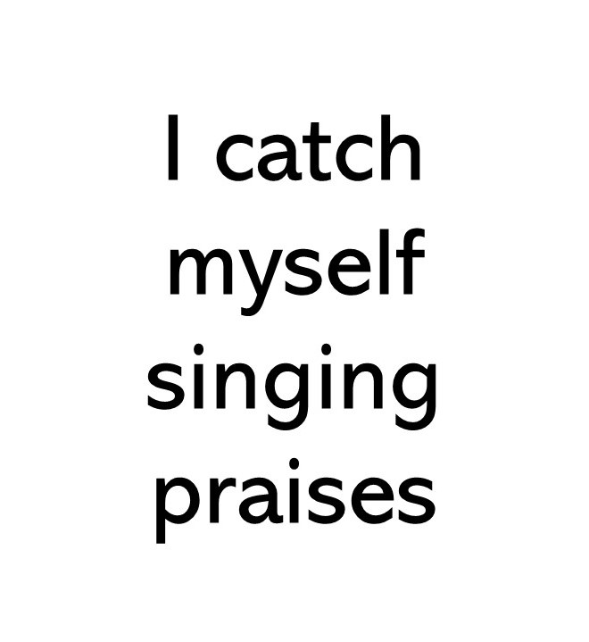 Title text image that says I catch myself singing praises