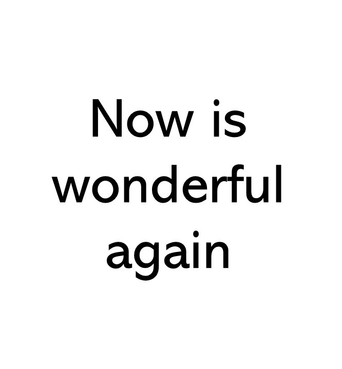 Title text image that says Now is wonderful again